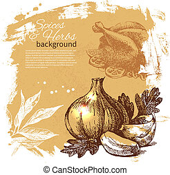 Vintage background with hand drawn sketch herbs and spices. Menu design
