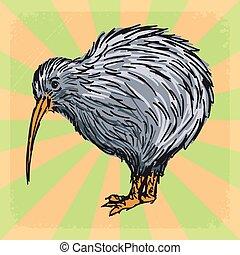 vintage background with kiwi bird