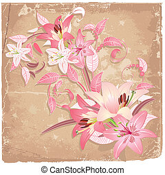 Vintage background with lilies