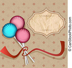 vintage background with  lollipops.candy on a stick