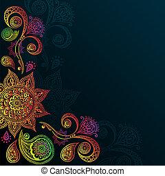 Vintage background with Mandala Indian Ornament. - Indigo...