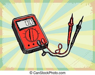 vintage background with multimeter
