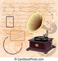 Vintage background with music gramophone