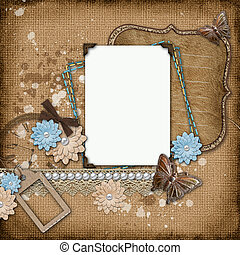 vintage background with old frames - Framework for...