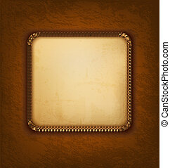 Vintage background with old paper and brown leather. Vector illustration