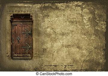 background with old wooden door