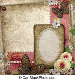 Vintage background with paper frame