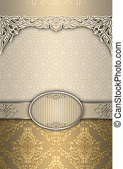 Vintage background with patterns and frame.