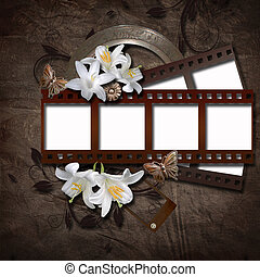 Vintage background with photo-frame