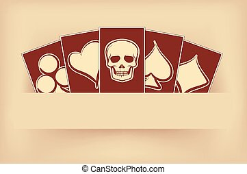 Vintage background with poker cards