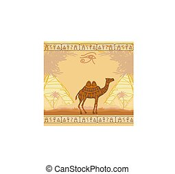 Vintage background with pyramids giza and camel