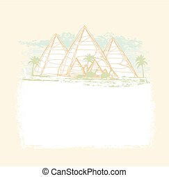 vintage background with pyramids giza