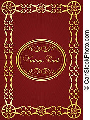 Vintage background with red and golden elements vector