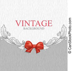 Vintage background with red bow