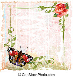 vintage background with red roses, ivy and butterfly