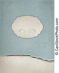 Vintage background with ripped old paper. Vector illustration.