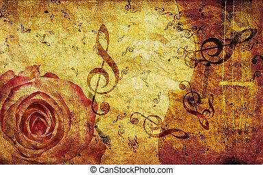 Vintage background with rose and notes - Vintage grunge...