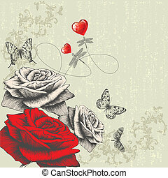 Vintage background with roses, butt