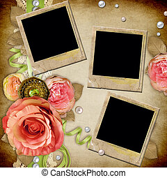 Vintage background with  roses, lace, ribbon