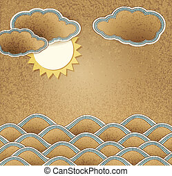 background with sea, clouds and sun