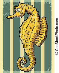 vintage background with sea horse
