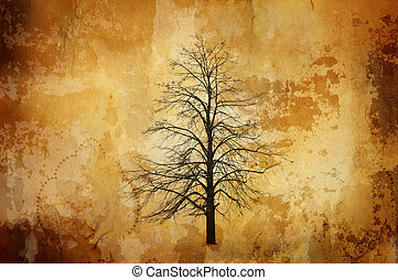 vintage background with single tree