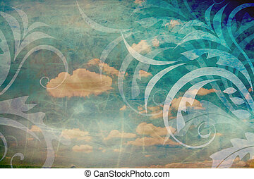 Vintage background with sky and florals