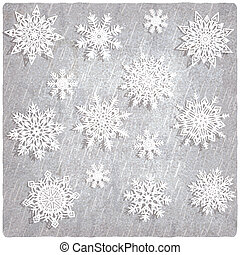 Vintage background with snowflake set