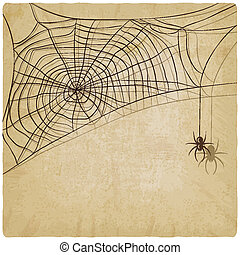 Vintage background with spider web - vector illustration