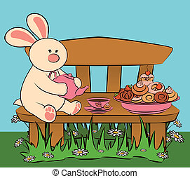 sweet cakes and rabbit