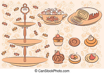 Vintage background with sweet cakes