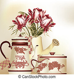 Vintage background with teapot