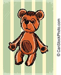 vintage background with teddy bear