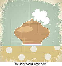 Vintage background with the image of the pot. eps10
