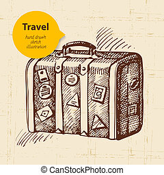 Vintage background with travel suitcase. Hand drawn...