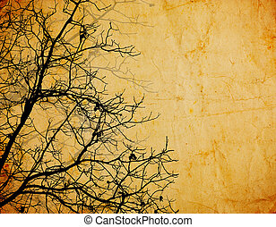 vintage background with tree branches