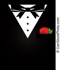 Vintage background with tuxedo shirt and bowtie close up