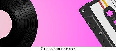 Vintage background with vinyl record and audio tape. Retro music background template.
