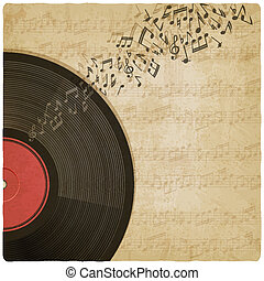Vintage background with vinyl record - vector illustration