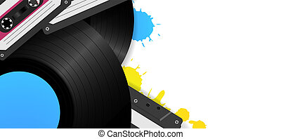 Vintage background with vinyl records and audio tapes. Retro...