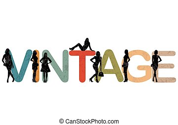 Vintage background with women silhouettes