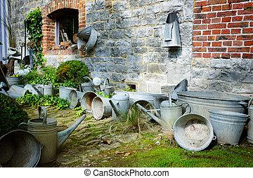 Vintage backyard with gardening tools