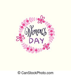 Vintage Badge Happy Women Day Concept Pink Lettering Calligraphy On White Background
