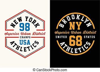 Vintage badge, New York athletic sport typography for t shirt print