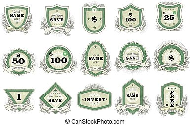 Vintage badge vector retro sticker or premium emblem sign illustration emblematical set of tag or logo in classic style isolated on white background