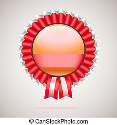 Vintage badge with ribbon, red award with space for text. The logo for thanksgiving day, victory in competitions or contests, template for your design, 3D illustration.