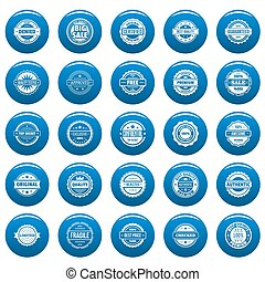 Vintage badges and labels  icons set blue, simple style