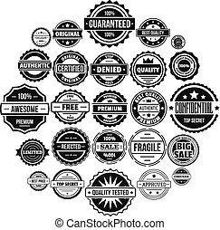Vintage badges and labels icons set, simple style