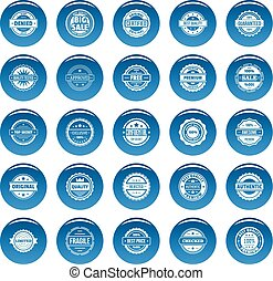 Vintage badges and labels vector icons set blue, simple style