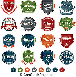 Vintage badges - Set of retro vintage badges and labels with...